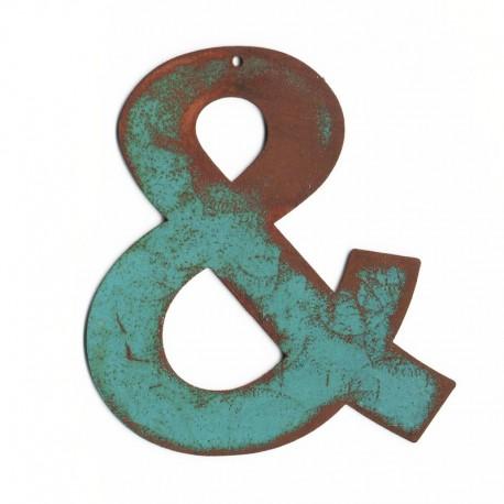 Esperluette, ampersand : lettre déco en métal blue vintage