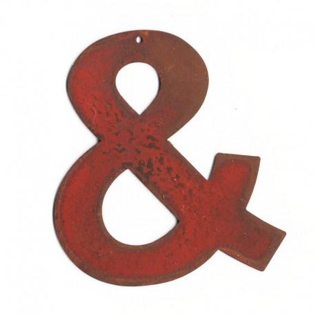 Lettre ancienne en métal - Esperluette en red vintage