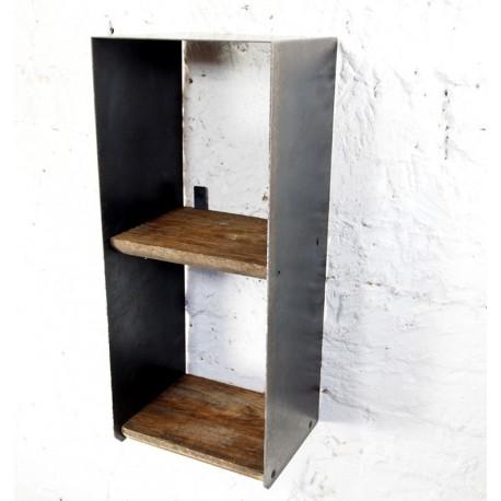 Petite étagère murale style industriel bois et métal